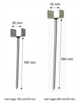 ruiterdrager met spijker, breedte 30 mm, verzinkt