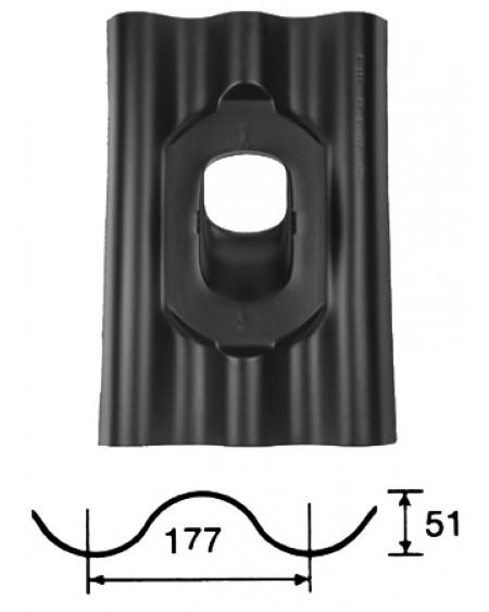 Pan Eternit 177 x 51mm - Ø 131 - 25°-45° - golfplaat (GPN) - zwart