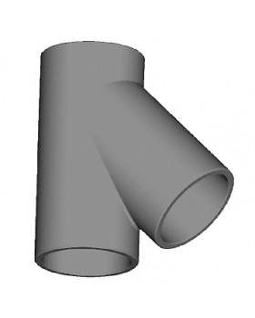 T-stuk 45° geïsoleerd leidingsysteem - Ø150