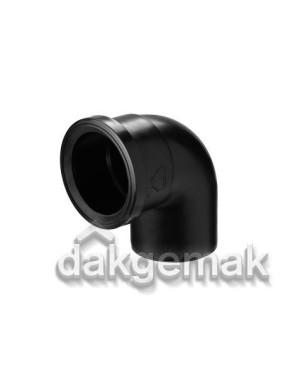Bocht 90° (luchttoevoer) - Ø100 - PE - zwart
