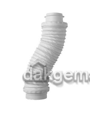 Flexibel Aansluitst. voor Dakdoorvoer Ø 131 naar buis Ø 100 L650mm wit